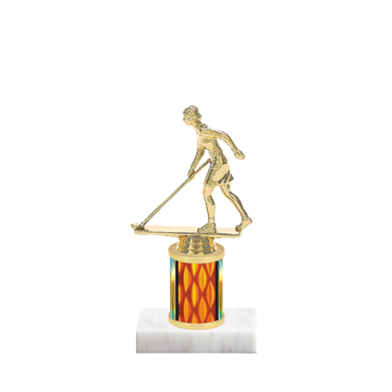 "7"" Shuffleboard Trophy with Shuffleboard Figurine, 2"" colored column and marble base."