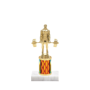 "7"" Weightlifting Trophy with Weightlifting Figurine, 2"" colored column and marble base."