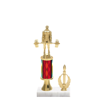 "11"" Weightlifting Trophy with Weightlifting Figurine, 3"" colored column, gold riser, side trim and marble base."
