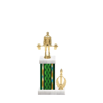 """13"""" Weightlifting Trophy with Weightlifting Figurine, 5"""" colored column, side trim and marble base."""