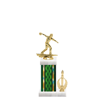 "13"" Bowling Trophy with Bowling Figurine, 5"" colored column, side trim and marble base."