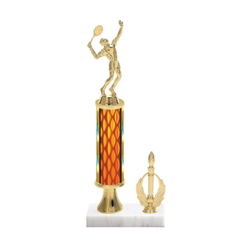 """13"""" Tennis Trophy with Tennis Figurine, 5"""" colored column, gold riser, side trim and marble base."""