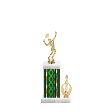 """13"""" Tennis Trophy with Tennis Figurine, 5"""" colored column, side trim and marble base."""