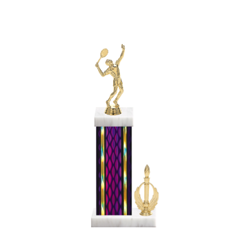 """14"""" Tennis Trophy with Tennis Figurine, 6"""" colored column, side trim and marble base."""