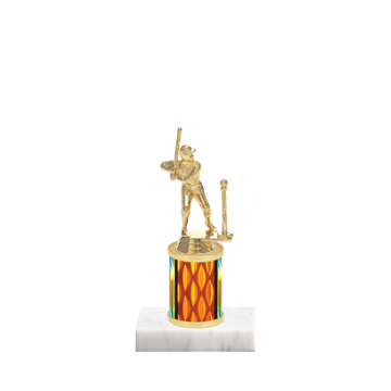 """7"""" T-Ball Trophy with T-Ball Figurine, 2"""" colored column and marble base."""