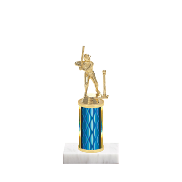 """8"""" T-Ball Trophy with T-Ball Figurine, 3"""" colored column and marble base."""