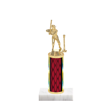 """9"""" T-Ball Trophy with T-Ball Figurine, 4"""" colored column and marble base."""