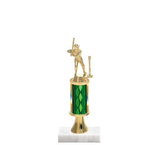 "11"" T-Ball Trophy with T-Ball Figurine, 3"" colored column, gold riser and marble base."