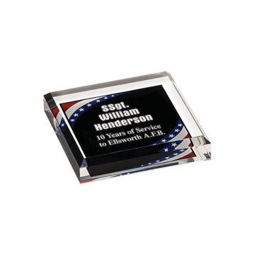 American themed acrylic paperweight with red white and blue trim