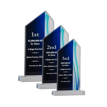 Aqua Acrylic Award with Reverse Engraved Black Background | 3 Sizes Shown