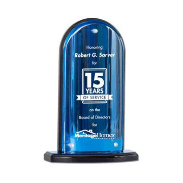 Arch Acrylic Award featuring blue mirror upright and base with convex lucite front