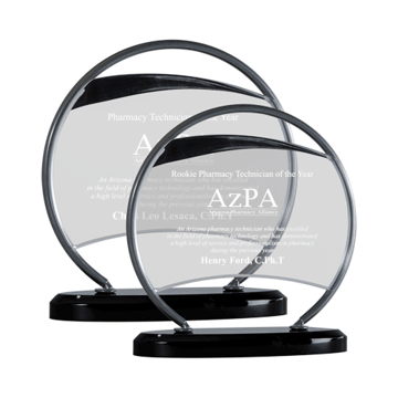 Aristo Acrylic Award with contemporary silver holder on black base two sizes shown