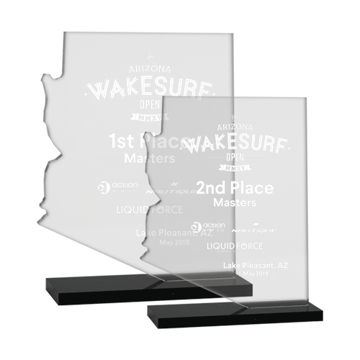 Arizona Shaped Acrylic Award on black base two sizes shown