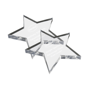 Star shaped acrylic paperweight clear
