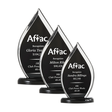 Black Flame Acrylic Award with black screen printed background three sizes shown