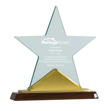 Constellation Acrylic Award with golden metal and rosewood base
