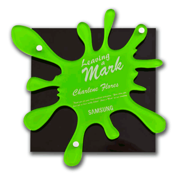 Splat Acrylic Award Plaque with green paint splat design, black Lucite and aluminum hardware