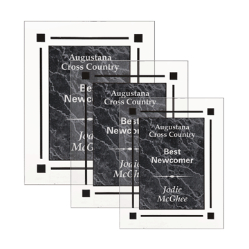 Black Marble Floating Acrylic Award Plaque with clear acrylic and black marbleized engraving area shown three sizes
