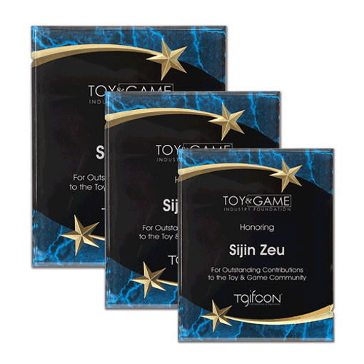 Blue Marble Shooting Star Acrylic Award Plaque with black engraving area wrapped inside two shooting stars shown three sizes