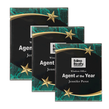 Green Marble Shooting Star Acrylic Award Plaque with black engraving area wrapped inside two shooting stars shown three sizes
