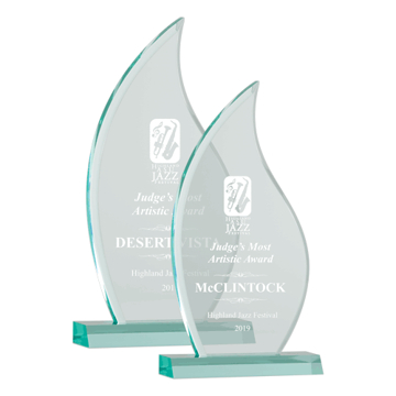Eternal Flame Acrylic Award of jade acrylic with flame shaped upright shown two sizes