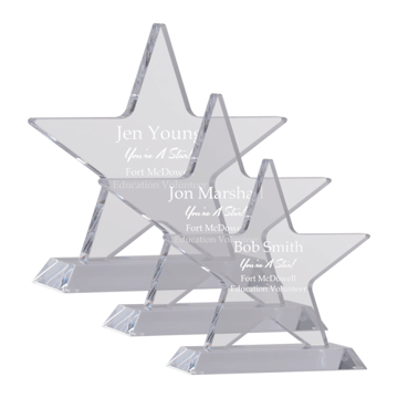 Gemini Acrylic Award with clear five point star mounted on beveled base shown three sizes