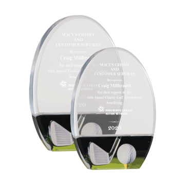 Golf Acrylic Award with free standing clear acrylic oval an full color golf image shown two sizes