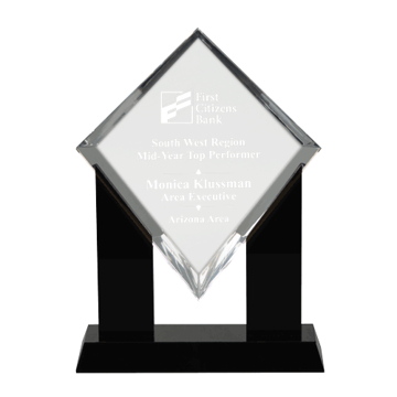 Marquis Diamond Acrylic Award with black Lucite pillar stand
