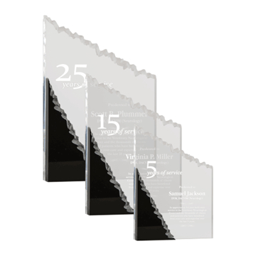 Mountain Acrylic Award with clear hand carved upright accentuated with black Lucite shown three sizes