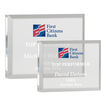 Rectangular Acrylic Paperweight with hand polished bevels shown two sizes with full color logo optional