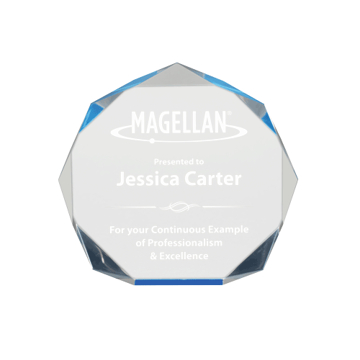 """Blue Spectra Octagon Acrylic Award of blue tinted acrylic with hand polished octagon shaped facets 6"""""""