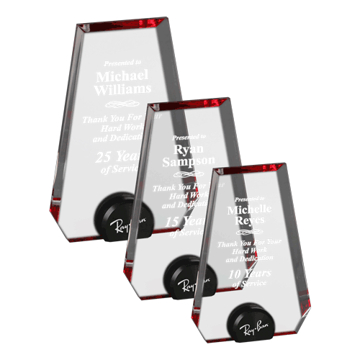 Red Halo Pinnacle Acrylic Award with blue tinted round acrylic held upright with black anodized aluminum disk shown three sizes
