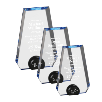 Blue Halo Pinnacle Acrylic Award with blue tinted round acrylic held upright with black anodized aluminum disk shown three sizes
