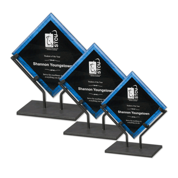 Blue Galaxy Art Acrylic Award with welded iron stand and galactic reverse printed design shown three sizes