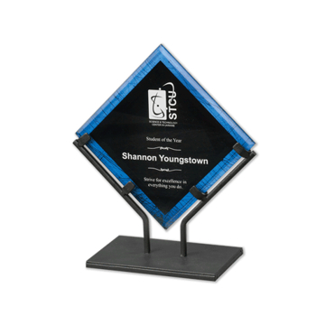 """Blue Galaxy Art Acrylic Award with welded iron stand and galactic reverse printed design 10"""""""