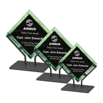 Green Galaxy Art Acrylic Award with welded iron stand and galactic reverse printed design shown three sizes