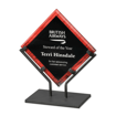 Red Galaxy Art Acrylic Award with welded iron stand and galactic reverse printed design