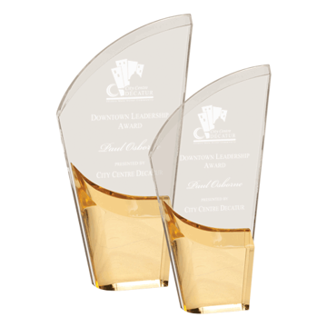 Gold Lunar Acrylic Award with clear acrylic and crescent shaped black accented base shown two sizes