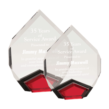 Red Marquis Acrylic Award with diamond shape and black Lucite with red mirror shown two sizes