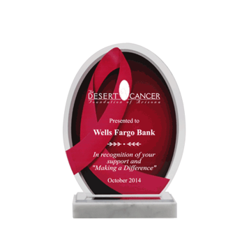Think Pink Acrylic Award with white marble base and printed pink ribbon design