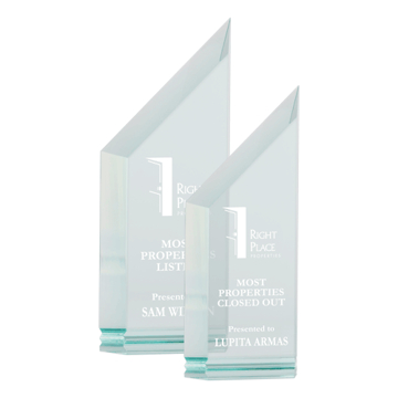 "Zenith Pinnacle Acrylic Award of 1"" thick free standing jade acrylic shown two sizes"