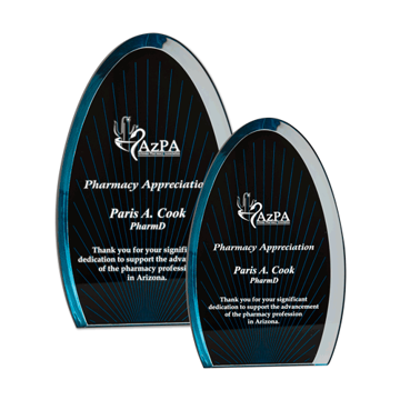 Dynasty Acrylic Award with black and blue screen printed background on clear acrylic shown two sizes