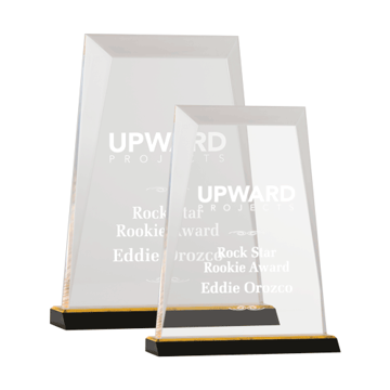 Prism Acrylic Award featuring a black Lucite base and clear acrylic highlighted with a gold mirror shown two sizes