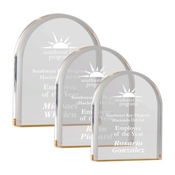 "Reflective Monument Acrylic Award of 1"" thick free standing gold tinted acrylic with dome monument shape shown three sizes"