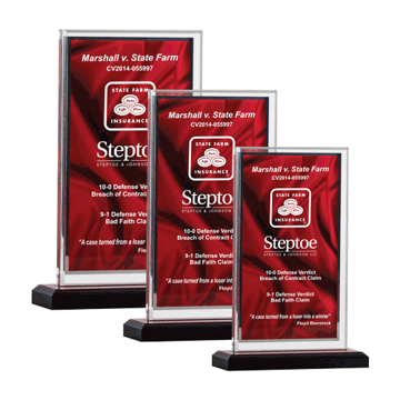 Red Drape Acrylic Award featuring black Lucite base with red drape printed acrylic engraving area shown three sizes