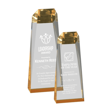 Spectra Obelisk Acrylic Award of free standing clear acrylic with gold tinted bottom shown two sizes