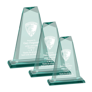Pinnacle Acrylic Award of jade acrylic with hand carved and polished bevels shown three sizes