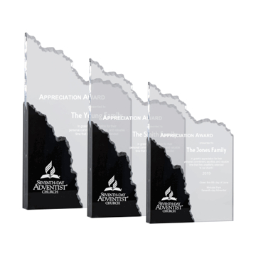 Precipice Acrylic Award of clear mountain shape carved acrylic highlighted with black Lucite shown three sizes