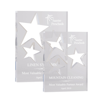 Prismatic Star Acrylic Award of clear acrylic laser cut with three five point stars shown two sizes