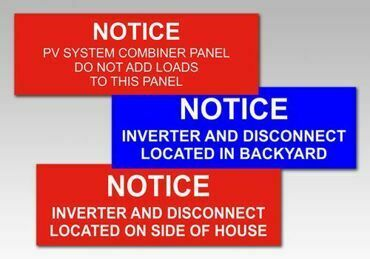 Picture for category Notice Solar PV Warning Labels